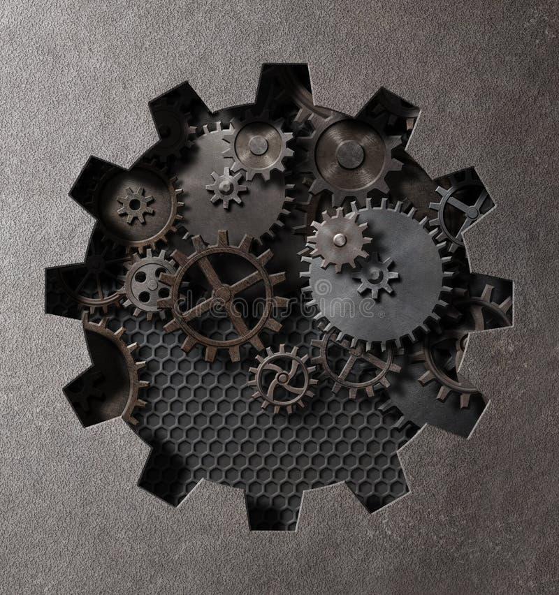 Иллюстрация 3d пара шестерней и cogs панковская стоковые фото