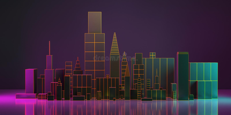 иллюстрация 3d План города ночи с неоновым заревом и яркими цветами бесплатная иллюстрация