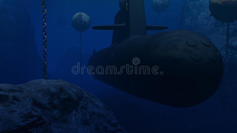 иллюстрация 3D подводной лодки пропуская через минное поле бесплатная иллюстрация