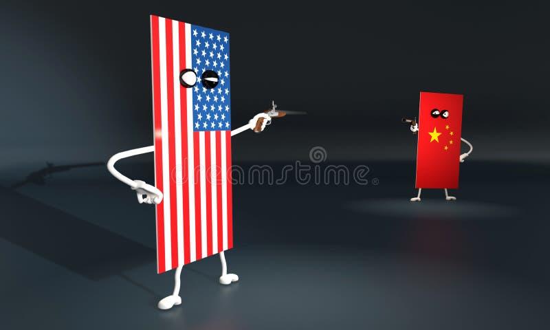 иллюстрация 3d поединка на пистолетах между флагами США и Китаем иллюстрация вектора