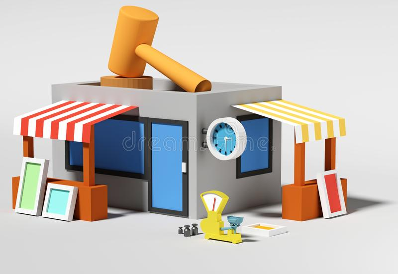 иллюстрация 3d представляет Магазин равновелико иллюстрация вектора