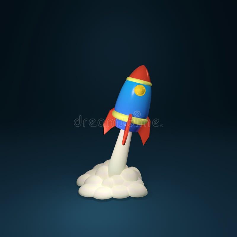 иллюстрация 3d представляет Скульптура ракеты космоса шаржа бесплатная иллюстрация