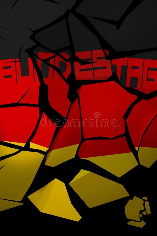 иллюстрация 3D разрушенного флага Германии с немецким словом для парламента иллюстрация штока
