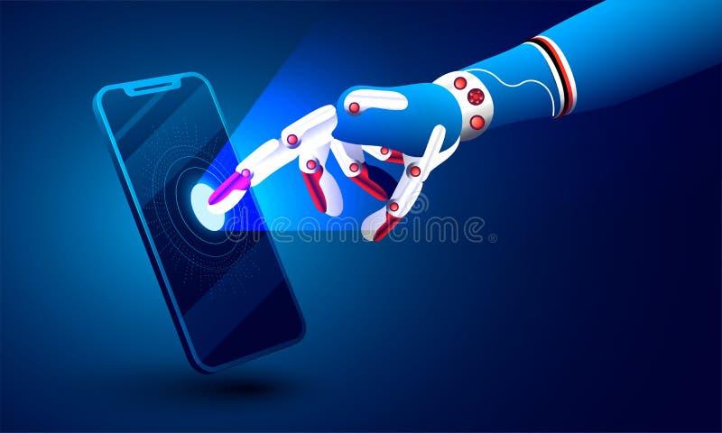 иллюстрация 3d робототехнической руки щелкая на smartphone для Artif иллюстрация вектора
