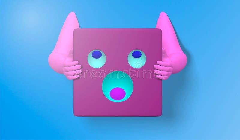 иллюстрация 3D розовой руки со значками стороны и простым смайликом, изолированная на голубой предпосылке, абстрактное backgroun  иллюстрация вектора