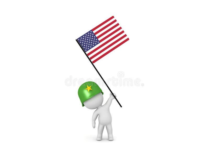 иллюстрация 3D солдата держа американский флаг иллюстрация вектора
