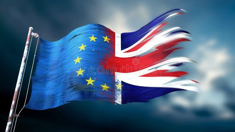 иллюстрация 3d сорванного и сорванного флага Европейского союза иллюстрация штока