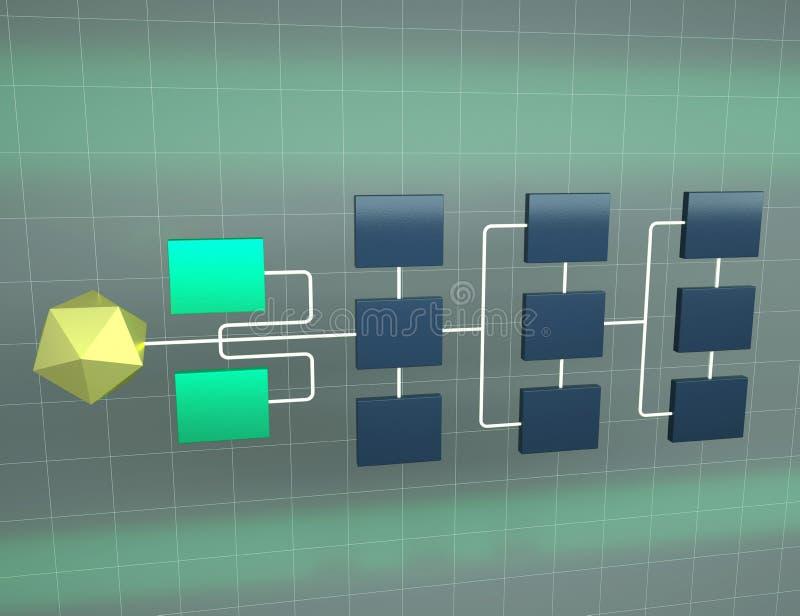 иллюстрация 3d топологии сети дела Концепция иерархии иллюстрация вектора