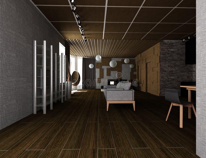 иллюстрация 3D уютного плоского интерьера бесплатная иллюстрация