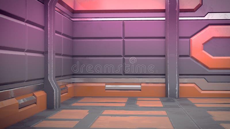 иллюстрация 3d футуристического интерьера космического корабля дизайна иллюстрация вектора