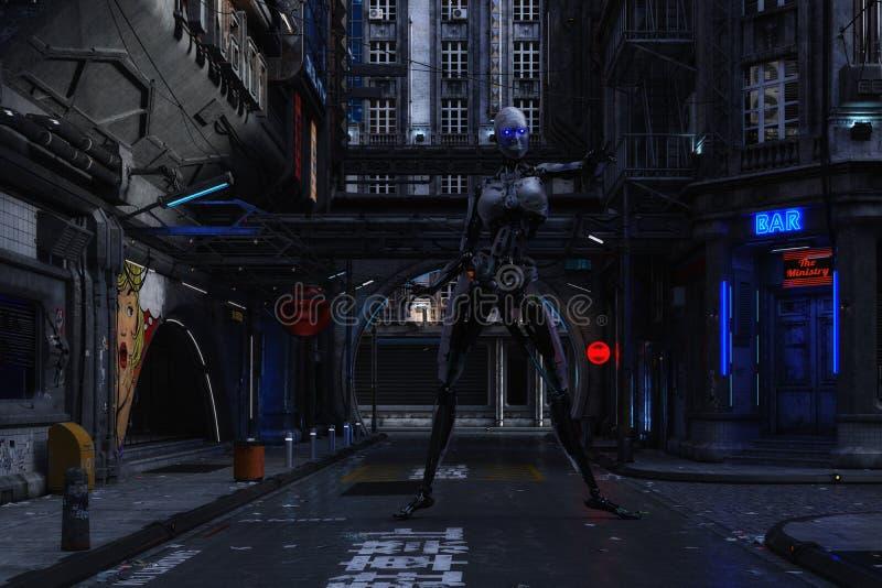 иллюстрация 3D футуристической городской сцены с киборгом иллюстрация вектора