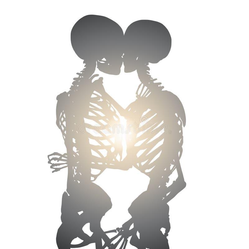 иллюстрация 3d целуя романтичного силуэта пар иллюстрация вектора