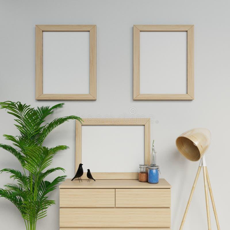 иллюстрация 3d шведского интерьера просторной квартиры с насмешкой плаката пробела размера 3 a2 вверх со светлой деревянной рамко бесплатная иллюстрация