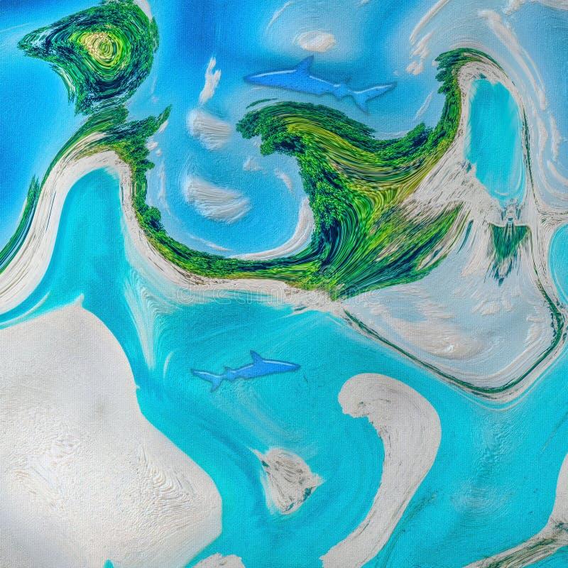 иллюстрация 3D яркой сцены акулы сини и aqua абстрактной бесплатная иллюстрация