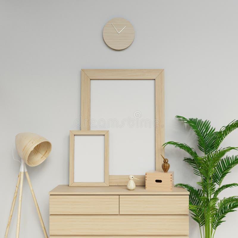 Иллюстрация 3d Photorealistic дома внутренняя шаблона модель-макета 2 пустого плакатов a1 и a3 с вертикальный сидеть деревянной р иллюстрация вектора