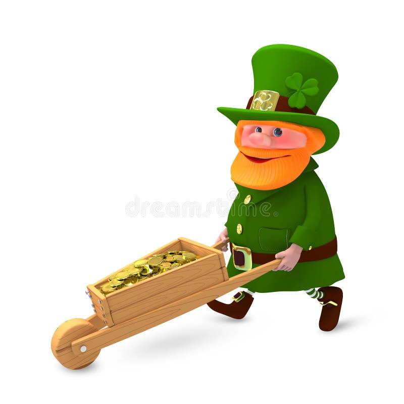 иллюстрация 3D St. Patrick с клевером и с тележкой бесплатная иллюстрация