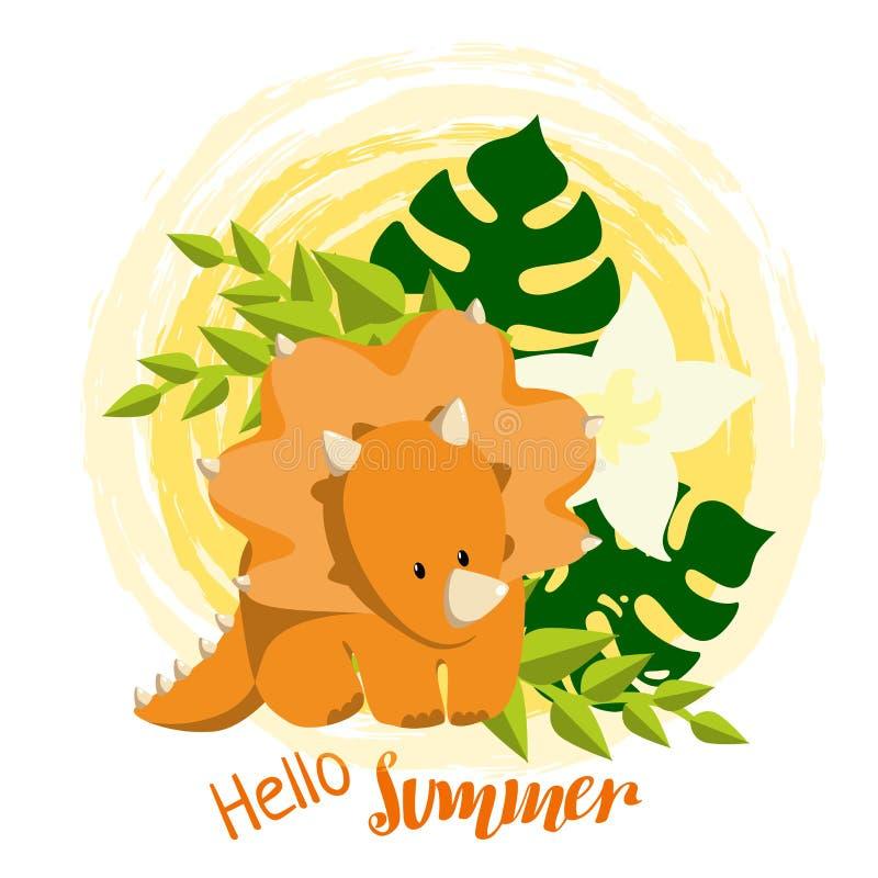 Иллюстрация Dino младенца в плоском стиле с трицератопс, листьями monstera и нарисованным рукой летом литерности здравствуйте! бесплатная иллюстрация