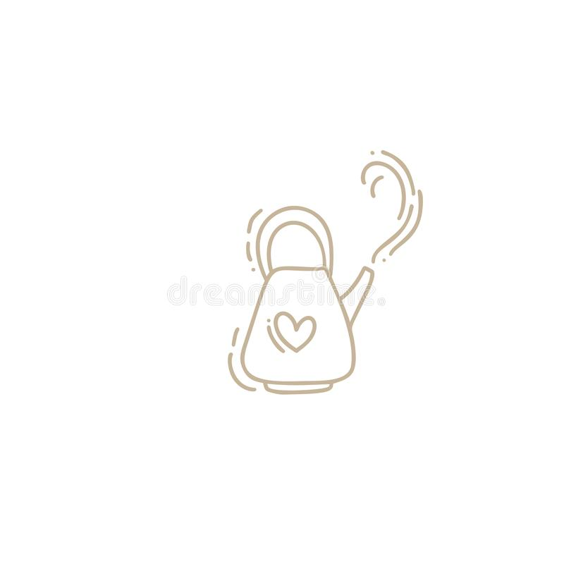 Иллюстрация doodle вектора руки вычерченная чайника Линия символ значка чайника Элемент эскиза Monoline качественным изолированны бесплатная иллюстрация