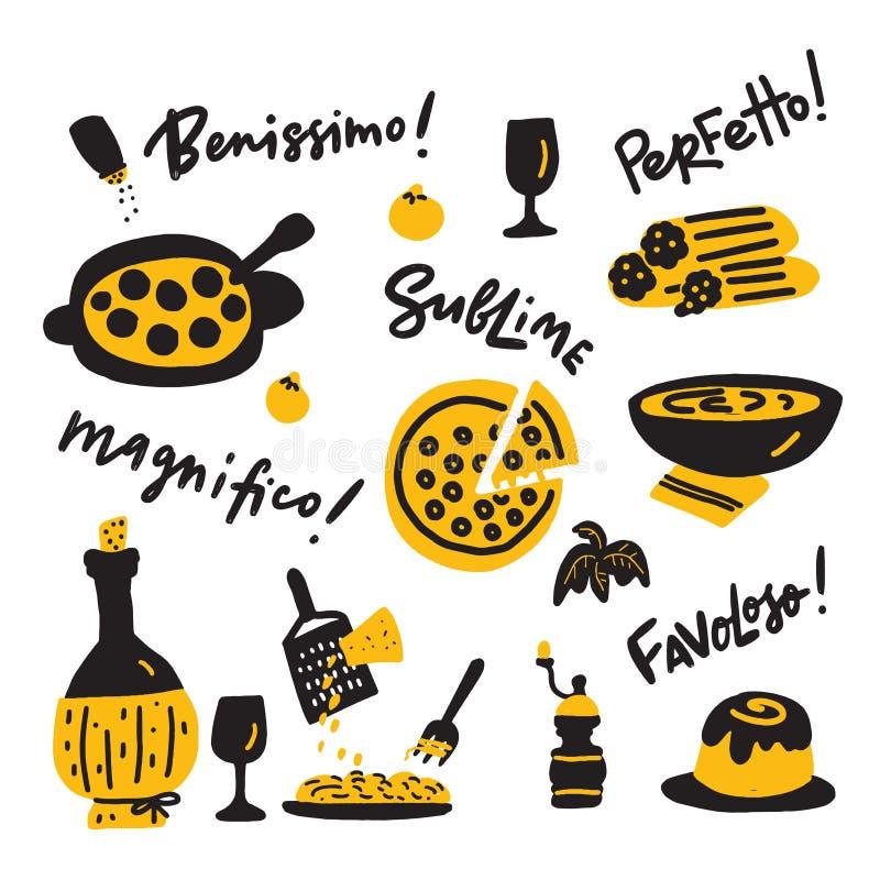 Иллюстрация Doodle итальянской кухни и выражения наслаждения о вкусной еде вектор техника eps конструкции 10 предпосылок иллюстрация вектора