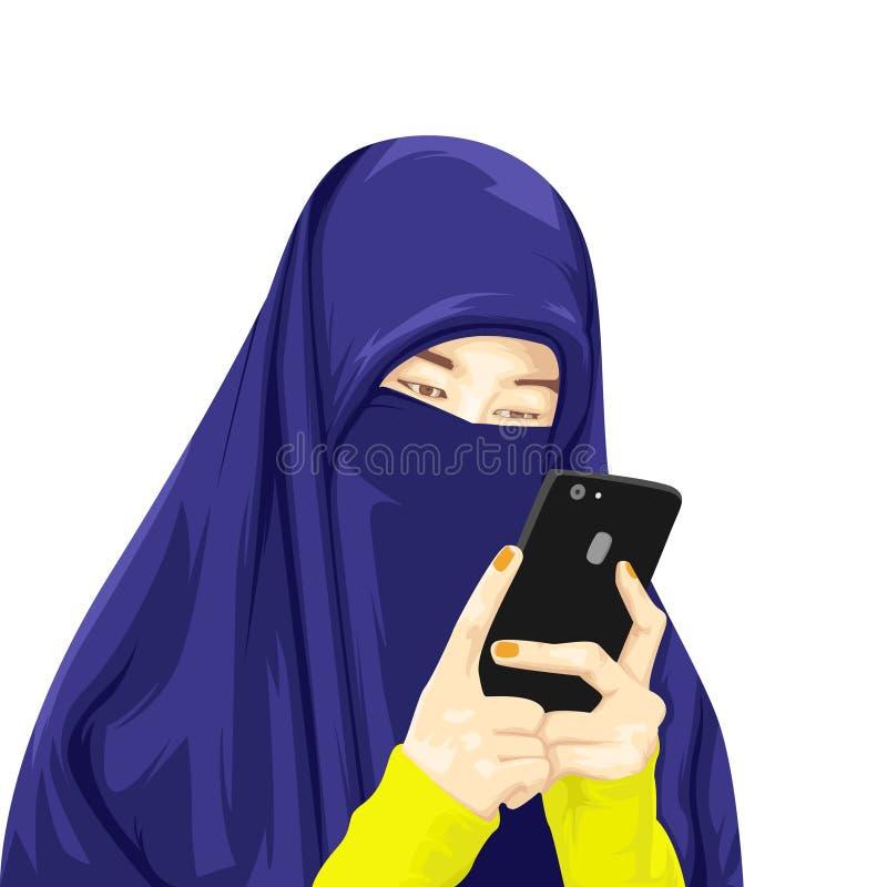 Иллюстрация hijab женщины нося иллюстрация вектора