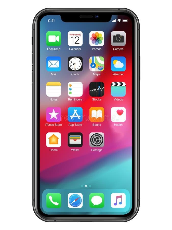 Иллюстрация IPhone XS максимальная с значками иллюстрация вектора