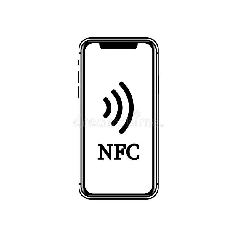 Иллюстрация NFC передвижная компенсация Концепции телефона NFC значок умной плоский иллюстрация вектора