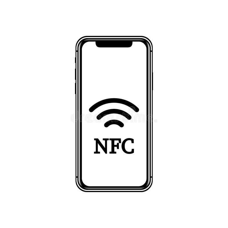 Иллюстрация NFC передвижная компенсация Концепции телефона NFC значок умной плоский бесплатная иллюстрация