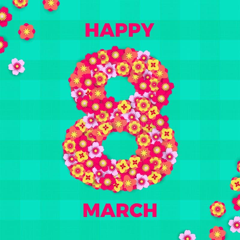 Иллюстрация papercut 8-ое марта для международной карточки дня ` s женщин Предпосылка холстинки отрезка бумаги дня счастливых жен иллюстрация вектора