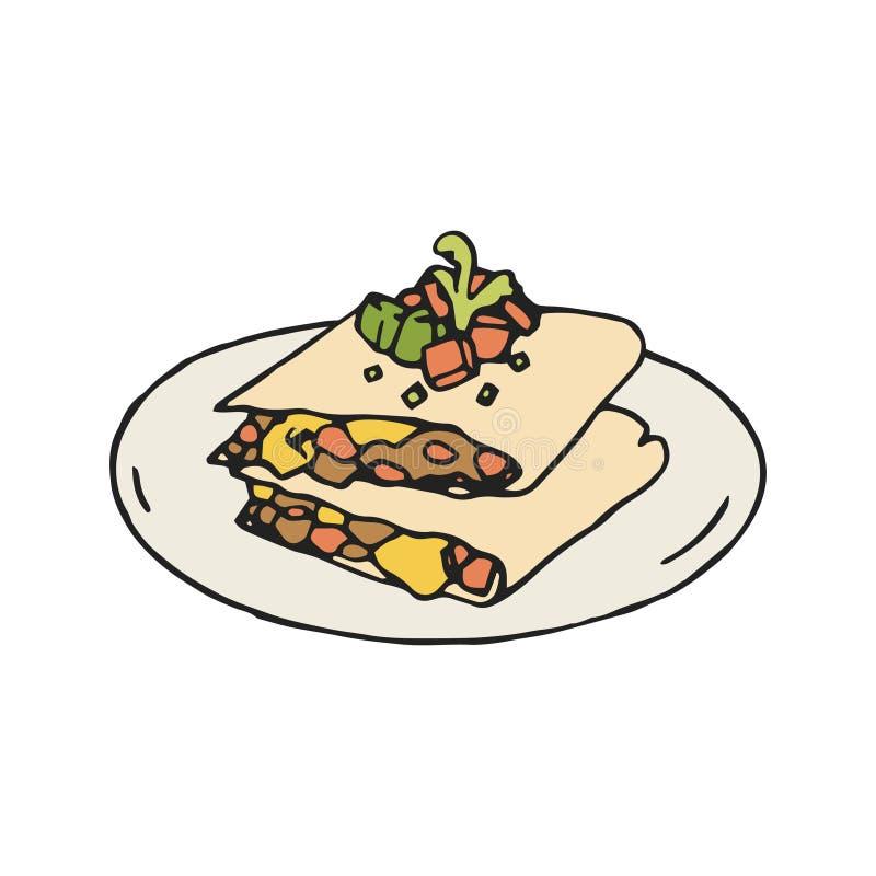 Иллюстрация Quesadilla мексиканско иллюстрация штока