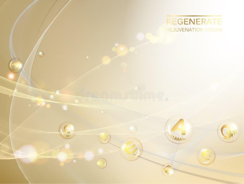 Иллюстрация Scince молекулы дна Концепция regenerate сливк стороны и комплекс витамина Органическая забота косметики и кожи бесплатная иллюстрация