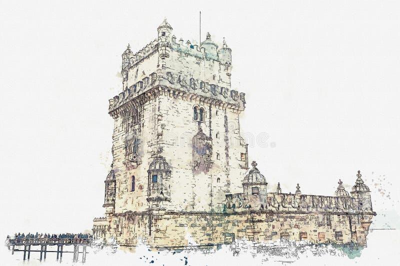 иллюстрация Torre de Belem или башня Belem одна из привлекательностей Лиссабона иллюстрация вектора