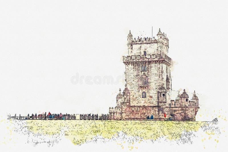 иллюстрация Torre de Belem или башня Belem одна из привлекательностей Лиссабона иллюстрация штока