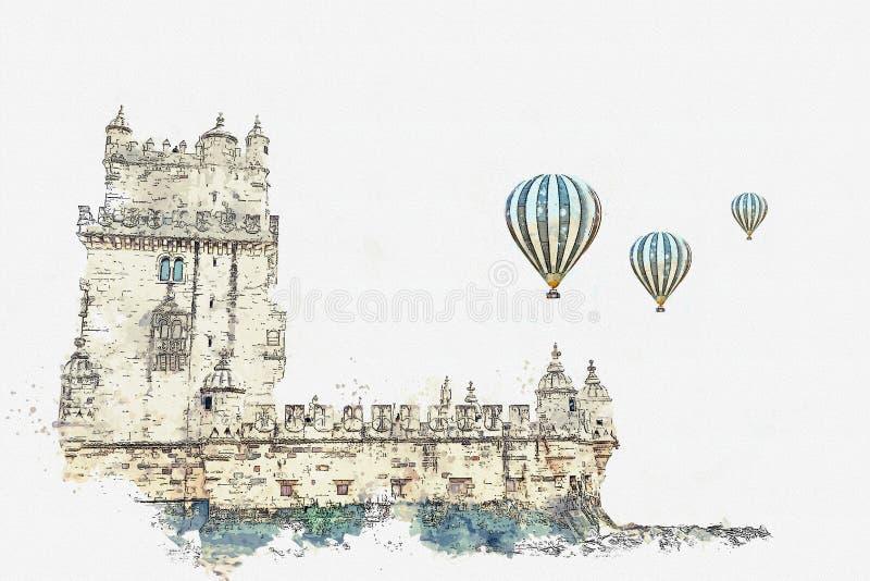 иллюстрация Torre de Belem или башня Belem одна из привлекательностей Лиссабона бесплатная иллюстрация