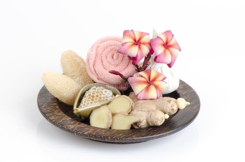 Имбирь scrub и рецепты меда, уменьшают морщинки и делают кожу накалить Чувствовать теплую депрессию затишья ветерка Нервная систе стоковые фото