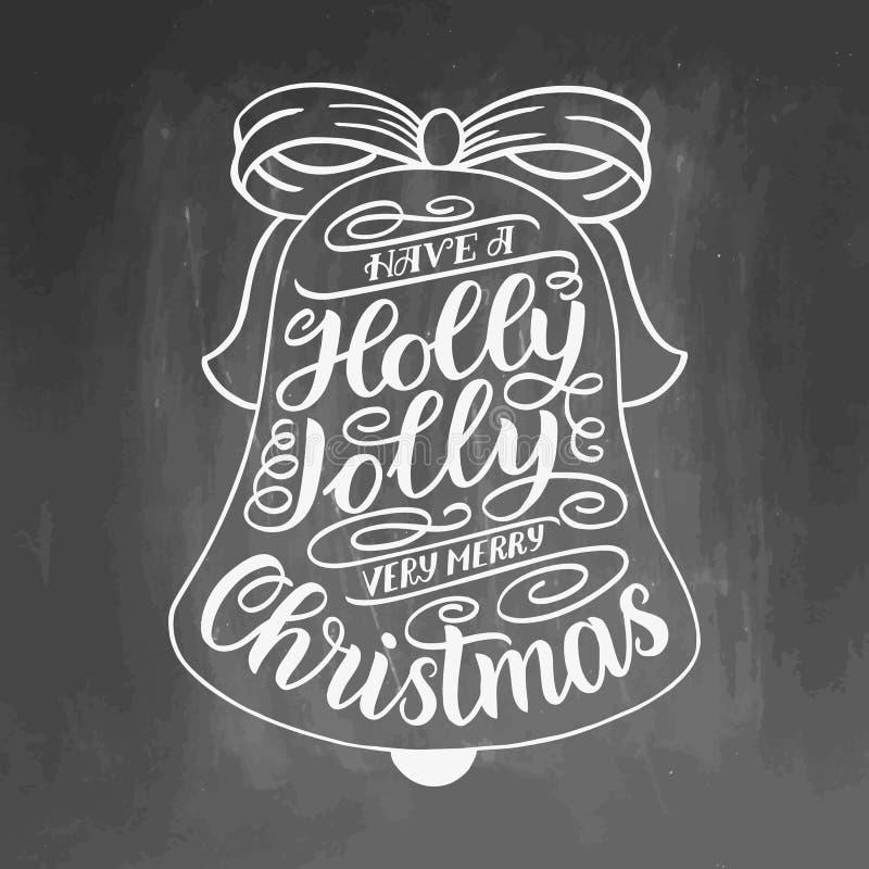 Имейте с Рождеством Христовым падуба весёлое очень Вручите поздравительную открытку литерности с рамкой колоколов звона рождества иллюстрация вектора