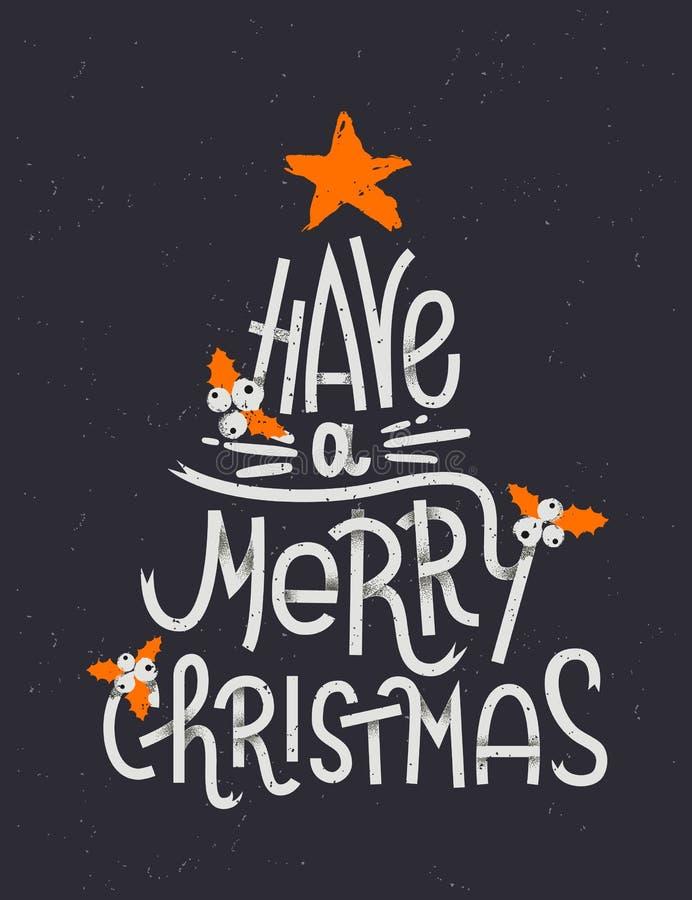 Имейте с Рождеством Христовым литерность в форме рождественской елки бесплатная иллюстрация