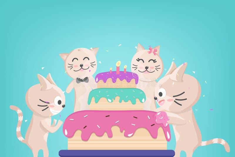 Именниный пирог с днем рождений, милое семейное торжество котенка, confetti падая для партии, прелестного животного, персонажей и иллюстрация штока