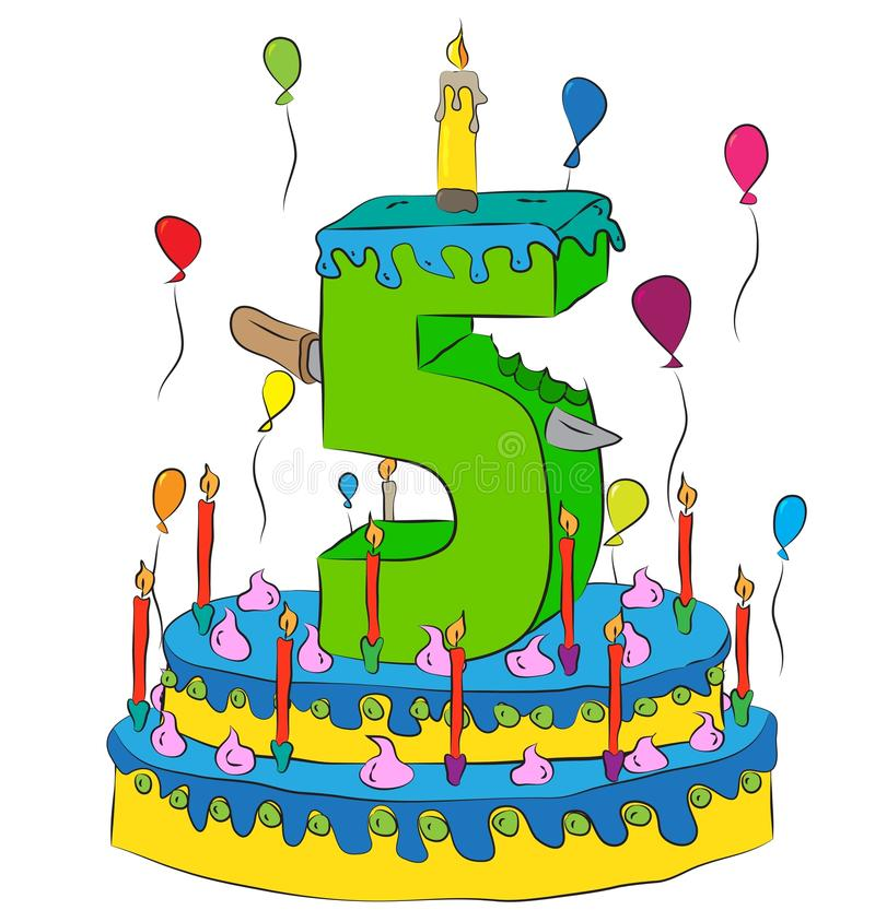 Именниный пирог с 5 миражирует, празднующ пятый год жизни, красочные воздушные шары и покрытие шоколада иллюстрация вектора