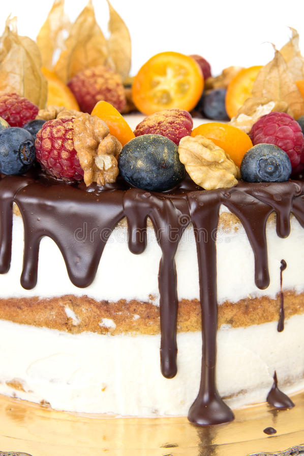 Именниный пирог с плодоовощами стоковые фотографии rf