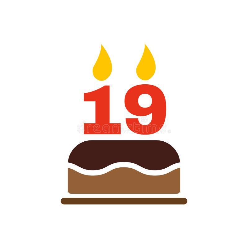 Именниный пирог с свечами в форме значка 19 символ дня рождения плоско иллюстрация вектора