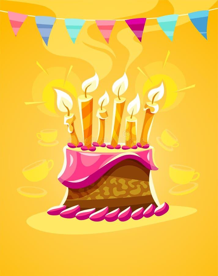 Именниный пирог шоколада с cream горящими свечами иллюстрация штока
