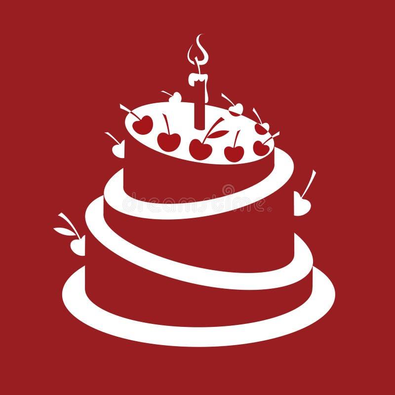 Именниный пирог иллюстрация вектора