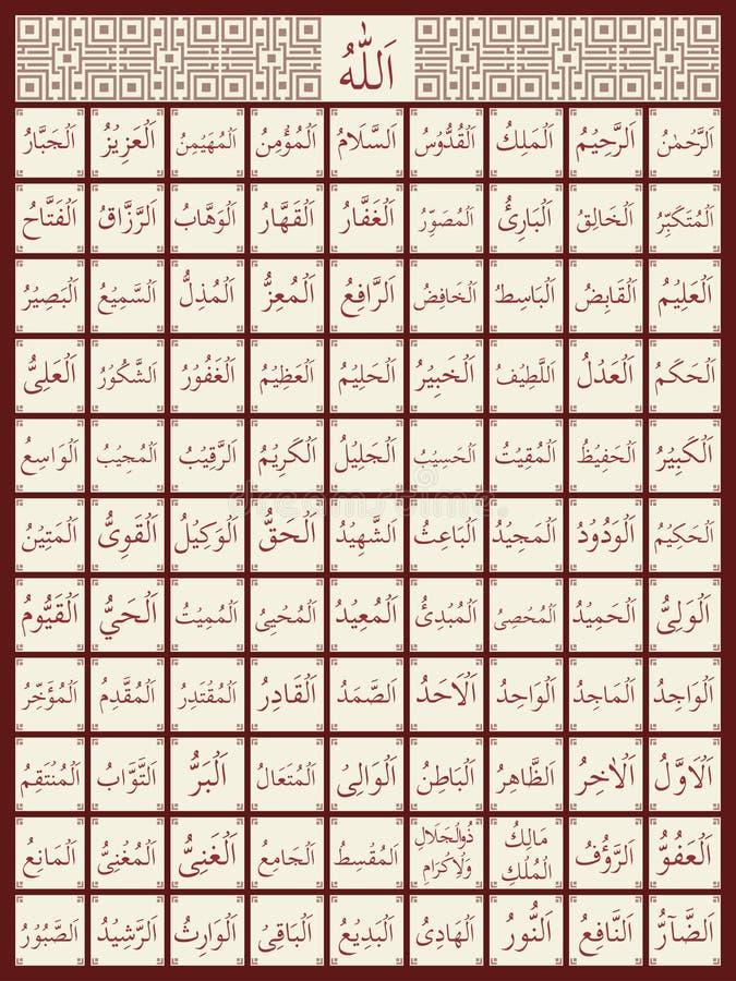 99 имен Аллаха иллюстрация штока