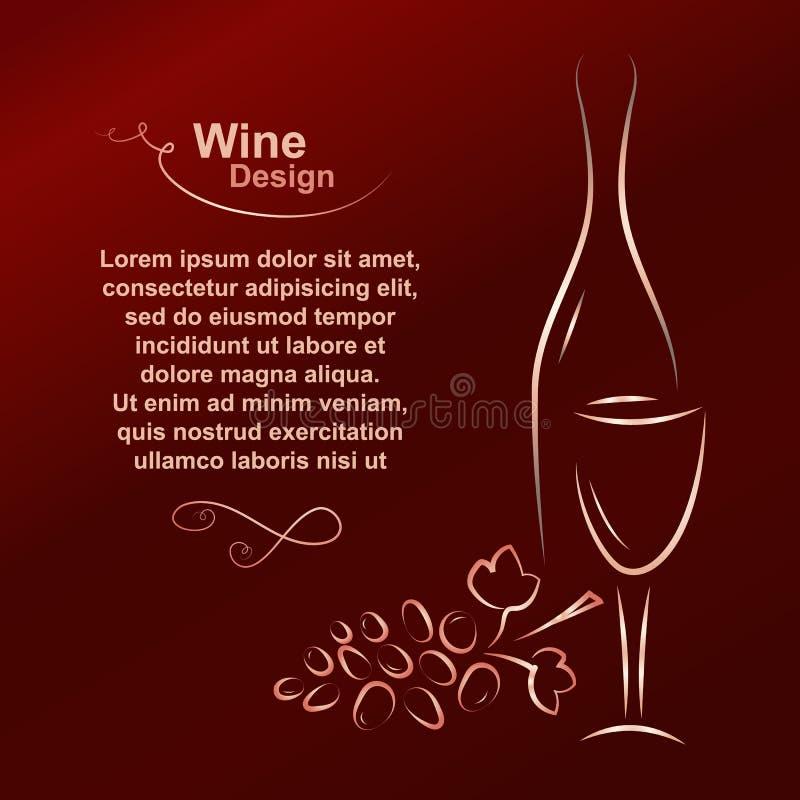 имеющееся вино вектора списка конструкции иллюстрация штока