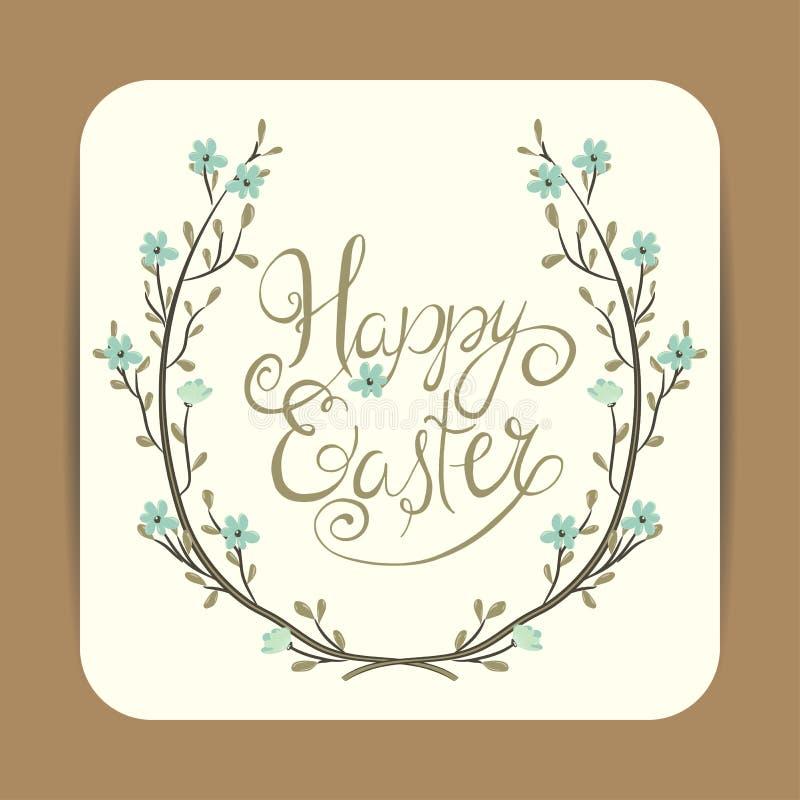 имеющееся приветствие архива пасхи eps карточки Венок весны с цветками иллюстрация штока