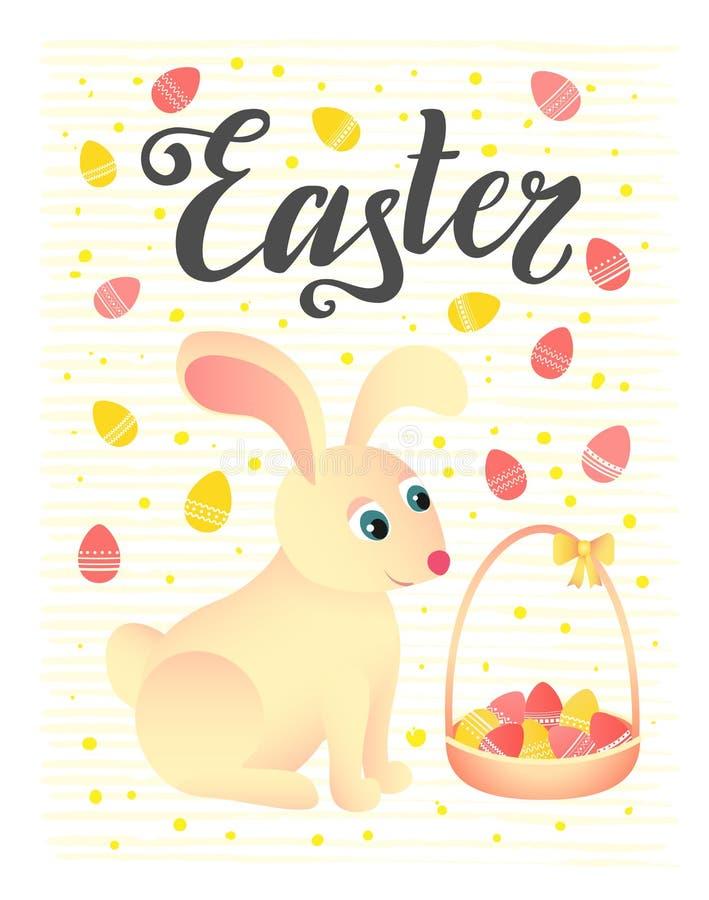 имеющееся приветствие архива пасхи eps карточки Кролик сидит около корзины с яичками иллюстрация вектора