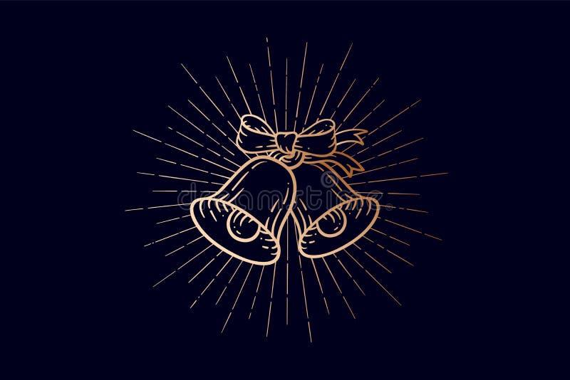 имеющийся вектор иллюстрации рождества колоколов Золотые колоколы звона знака со световыми лучами бесплатная иллюстрация