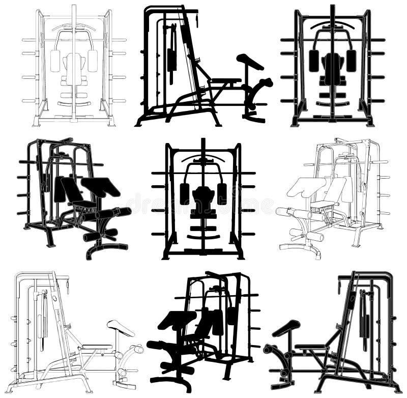 имитатор дома гимнастики пригодности резвится тренировка иллюстрация штока