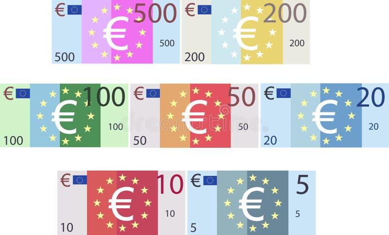 Имитационные деноминации бумажных денег бумаги евро (вектор) бесплатная иллюстрация
