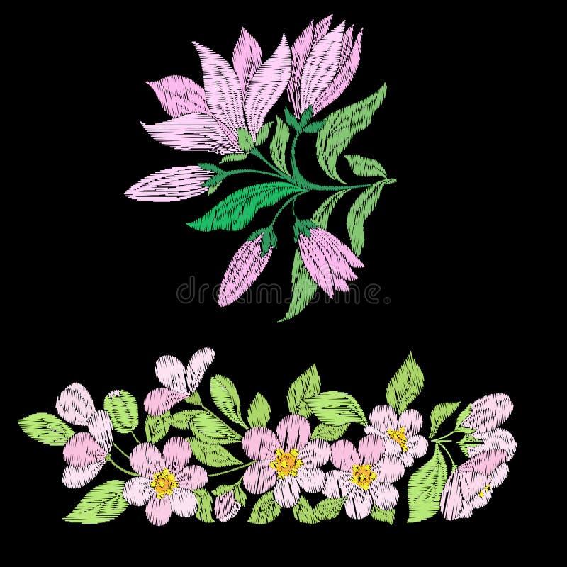 Имитация вышивки с весной цветет магнолия, Сакура иллюстрация штока